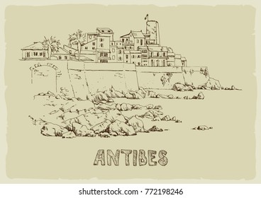 Coast of Antibes with stones.