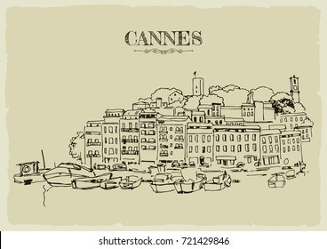 Coast of Cannes with boats.