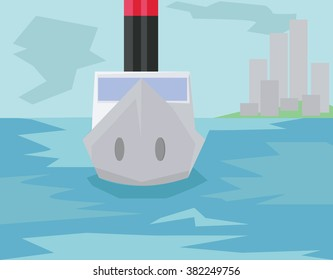 Coast Guard Boat Flat Cityscape. Big City River and Island with Buildings. City Life. Daytime Sky with Clouds and Abstract Waves on the Water. Digital background vector illustration.