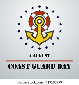 Coast guard day card (august 4). Vector