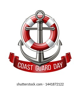 Coast guard day greeting card. Nautical emblem with an anchor, lifebuoy and red ribbon isolated on white background. Vector illustration