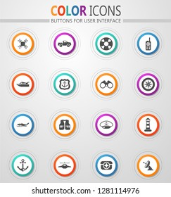 Coast Guard vector icons for user interface design