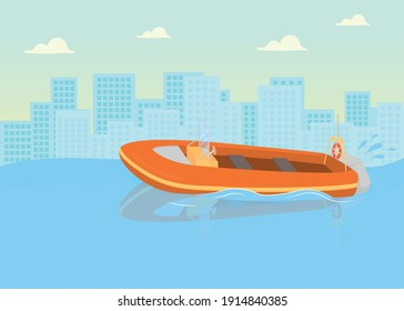 Coast guards boat flat color vector illustration. Checking out coastline to help people. Beach officers transport for helping people 2D cartoon cityscape with big city on background