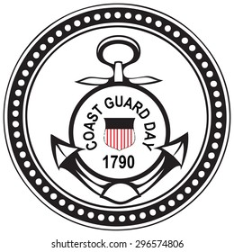 Coast Guard's Day in the United States. Vector illustration.
