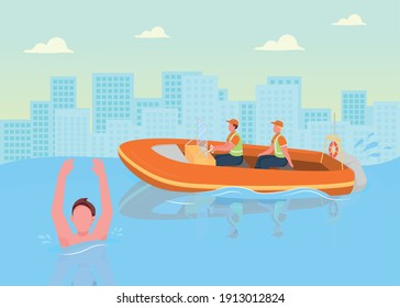 Coast guards flat color vector illustration. Helping people in water. Coast officers saving people from drowning while swimming 2D cartoon characters with big city buildings on background