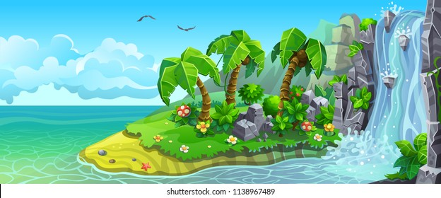 Coast of tropical island with waterfall and palm trees. Vector landscape panorama.