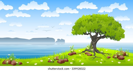 Coastal landscape with tree and flowers