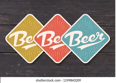 Coaster for beer with hand drawn lettering Beer. Color vintage drawing for bar, pub and beer themes. Craft coaster for placing a beer mug or a bottle over it with lettering. Vector Illustration