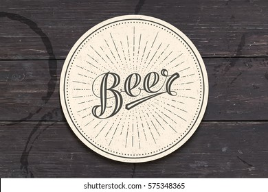 Coaster for beer with hand-drawn lettering Beer. Monochrome vintage drawing for bar, pub and beer themes. White circle for placing beer mug and bottle over it with lettering. Vector Illustration