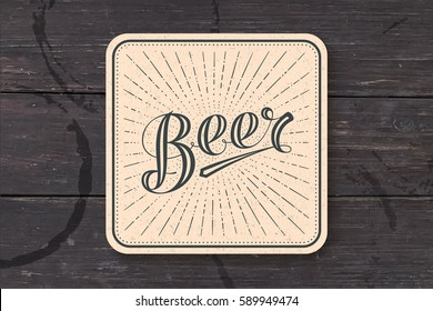 Coaster for beer with hand-drawn lettering Beer. Monochrome vintage drawing for bar, pub and beer themes. Kraft square for placing beer mug and bottle over it with lettering. Vector Illustration