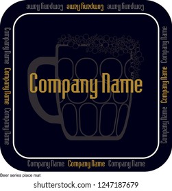 Coaster for beer, whiskey and alcoholic beverages. Vintage drawing for bar, pub and beer themes. Black and white circle for placing drinking glass over it with lettering, vector drawings.