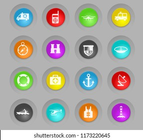 coastguard colored plastic round buttons vector icons for user interface design
