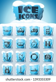 coastguard vector icons frozen in transparent blocks of ice