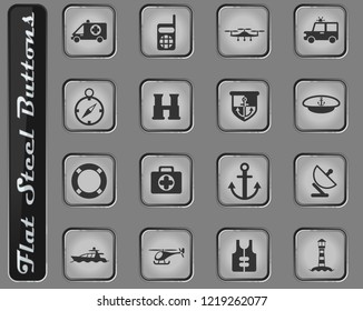 coastguard vector web icons on the flat steel buttons