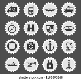 coastguard web icons stylized postage stamp for user interface design