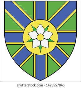 Coat of arms of Abbotsford is a city located in British Columbia, adjacent to the Canada–United States border, Greater Vancouver and the Fraser River. Vector illustration