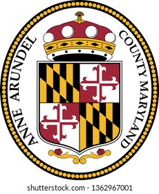 Coat of arms of Anne Arundel County is a county located in the U.S. state of Maryland. Vector illustration