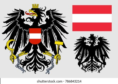 The coat of arms of Austria. Flag