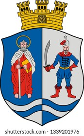 Coat of arms of Bacs-Kiskun is a county located in southern Hungary. Vector illustration