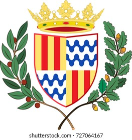 Coat of arms of Badalona is a municipality to the immediate north east of Barcelona in Catalonia, Spain. Vector illustration