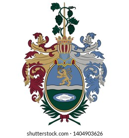 Coat of arms of Bekescsaba is a city in Southeast Hungary, the capital of the county Bekes. Vector illustration