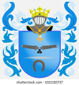 Coat of arms - blue. Knight Armour. Crown. Coat of arms of knight rituals and cannon Flat design, vector illustration, vector.