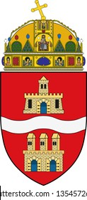 Coat of arms of Budapest is the capital and the most populous city of Hungary, and the tenth-largest city in the European Union. Vector illustration