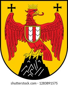 Coat of arms of Burgenland is the easternmost and least populous state of Austria. Vector illustration