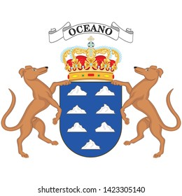 Coat of arms of Canary Islands are a Spanish archipelago and the southernmost autonomous community of Spain located in the Atlantic Ocean. Vector illustration