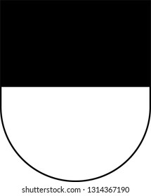 Coat of arms of canton of Fribourg, also canton of Friburg is located in western Switzerland. Vector illustration