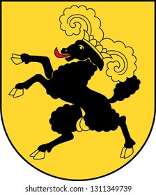 Coat of arms of canton of Schaffhausen is the northernmost canton of Switzerland. Vector illustration