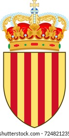 Coat of arms of Catalonia is an autonomous community of Spain. Vector illustration