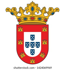 Coat of arms of Ceuta is an Spanish autonomous city on the north coast of Africa from Cadiz province. Vector illustration
