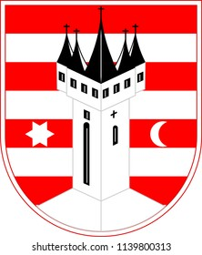 Coat of arms of Varazdīn is a city in Northern Croatia. Vector illustration