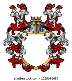 A coat of arms crest heraldic medieval knight or royal family shield. Red and white vintage motif with filigree leaf heraldry.