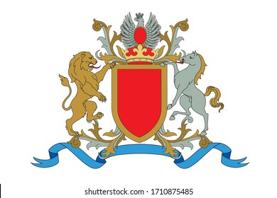 A coat of arms crest heraldic medieval rampant lion and horse with silver eagle for royal family shield. Red and golden vintage motif with filigree leaf heraldry.