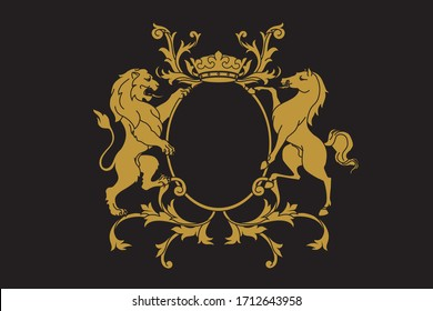 A coat of arms crest heraldic medieval rampant lion and horse for royal family shield. Golden vintage motif with filigree leaf heraldry.
