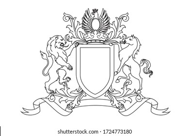 A coat of arms crest heraldic medieval rampant lion and horse with silver eagle for royal family shield. Outline vintage motif with filigree leaf heraldry.