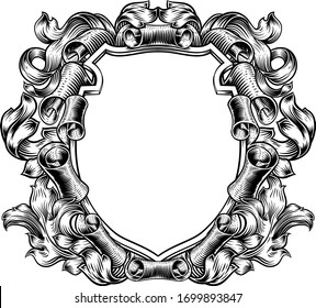 A coat of arms crest scroll and leaves vintage medieval style family heraldic shield decorative background frame.