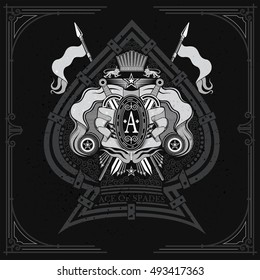 Coat of arms with crossed swords and spears in the center of ace of spades. Brand or T-shirt style on blackboard