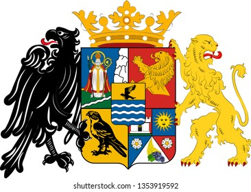 Coat of arms of Csongrad is the name of an administrative county in southern Hungary. Vector illustration