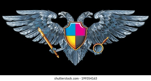 Coat of arms for the designer, or printers, or illustrator. Silver double-headed eagle with a pen and magnifier.