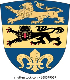 """Coat of arms of Dillingen is a district in Swabia, Bavaria, Germany. Vector illustration from the """"Heraldry of the World"""" authors and compilers Olga Bortnik, Ivan Rezko, 2008"""