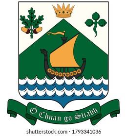 Coat of arms of Dun Laoghaire–Rathdown is a county in Ireland. It is part of the Dublin Region in the province of Leinster. Vector illustration