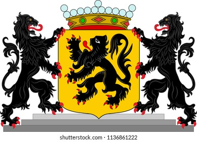Coat of arms of East Flanders is a province of Flanders, one of the three regions of Belgium. Vector illustration