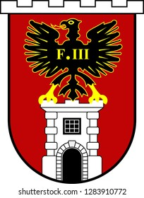Coat of arms of Eisenstadt is a city in Austria, the state capital of Burgenland. Vector illustration