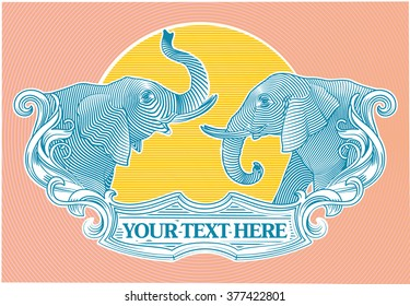 Coat of arms with Elephants Vector engraving
