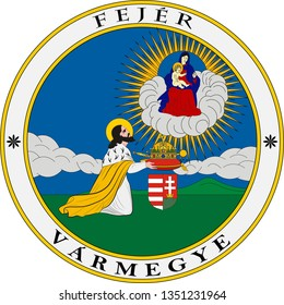 Coat of arms of Fejer is an administrative county in Central Hungary. Vector illustration