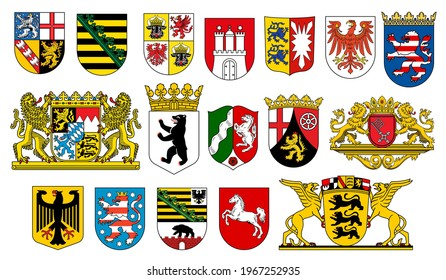 Coat of arms of German states heraldic icons of vector German heraldry. German federal state emblems with flags, lion, bear and deer, eagle, horse, crown and griffin, castle tower and key on shields