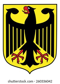 The Coat of Arms of Germany features a black eagle called the Bundesadler. Coat of arms of Germany, black eagle on a yellow field, isolated on white background.